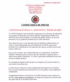 CGSP Cheminots/ACOD Spoor 2 – Infrabel/SNCB 0 –  Score sans «appel»