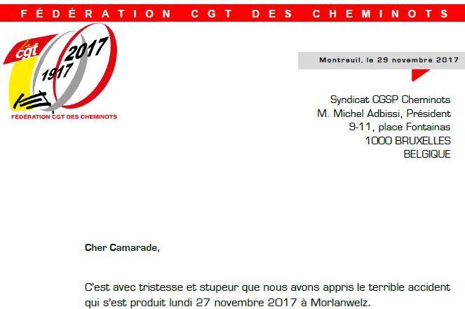 Lettre de soutien de la CGT